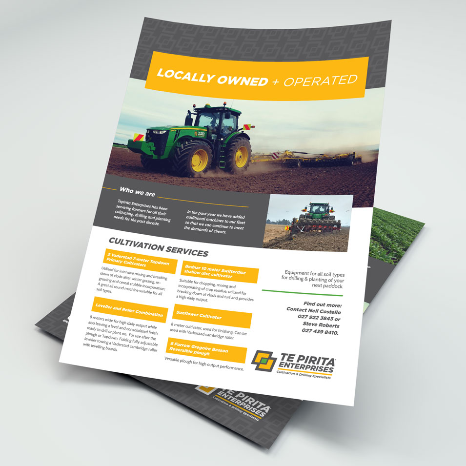 JFM Marketing + Design | Brochures Flyers - Te Pirita Enterprises